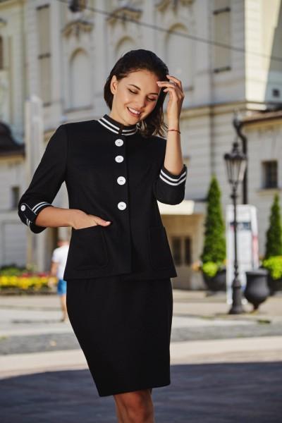 Черный женский деловой костюм-комплект жакет-юбка