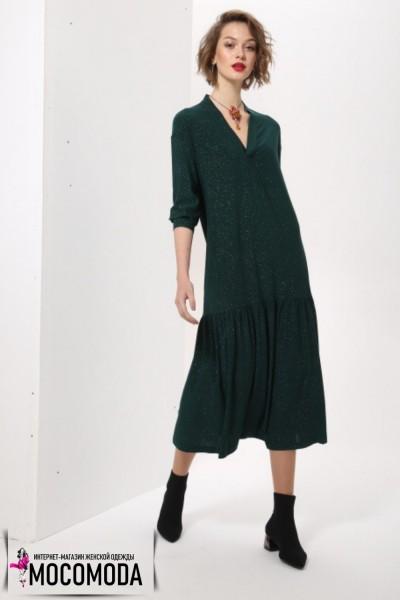 Длинное зеленое платье с золотистым отливом больших размеров