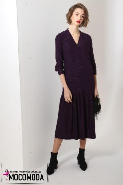 Сиреневое платье с золотистым вкраплением больших размеров
