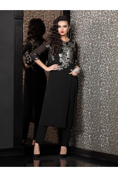 Tvoi imidj Женский черный костюм с рисунком кардиган+брюки