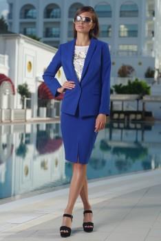 Vesnaletto Синий деловой женский костюм, жакет+юбка+блуза