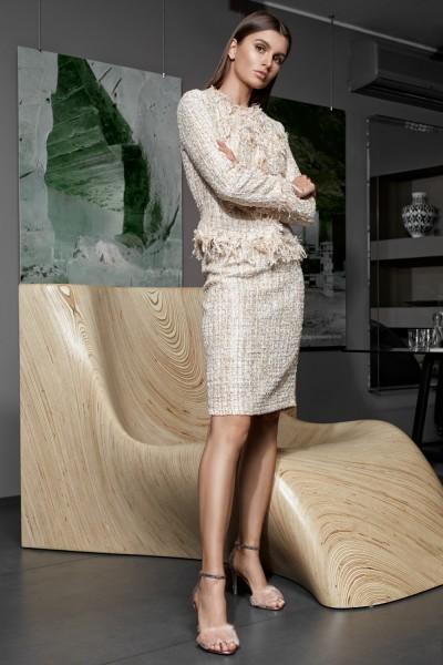 Vesnaletto женский юбочный костюм юбка+жакет рогожка