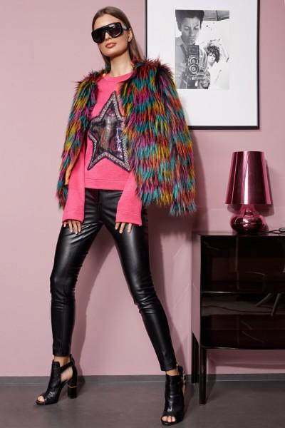 Vasnaletto Стильная женская меховая куртка на утепленной подкладке